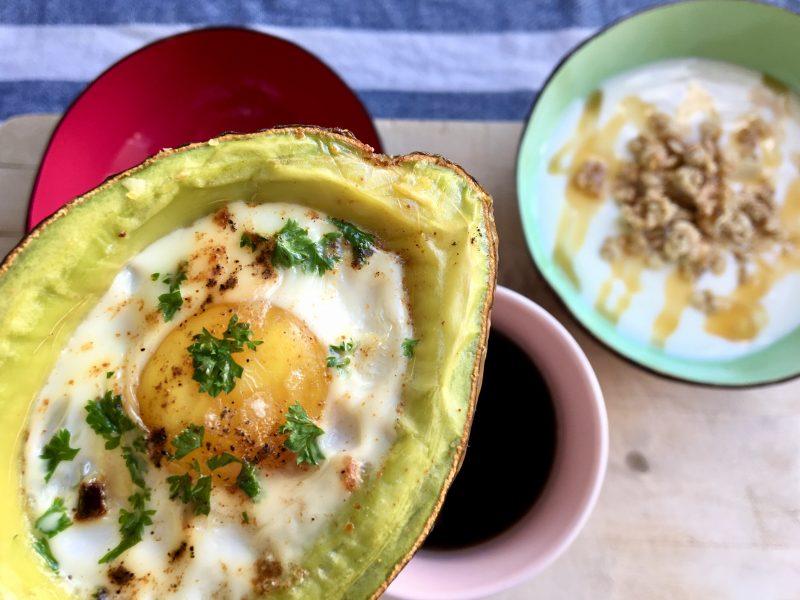 Avocado eggs for breakfast